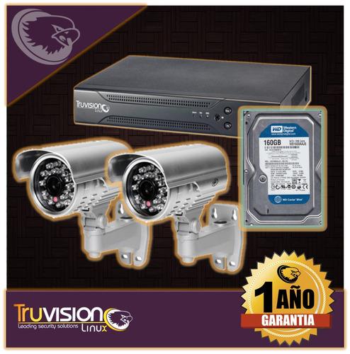 cctv kit dvr 4 camaras de seguridad hd+ disco duro truvision