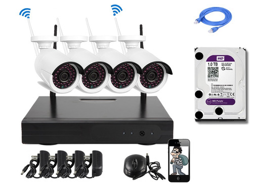 cctv kit dvr 4 cámaras seguridad wireless inalambrica+ dd 1t