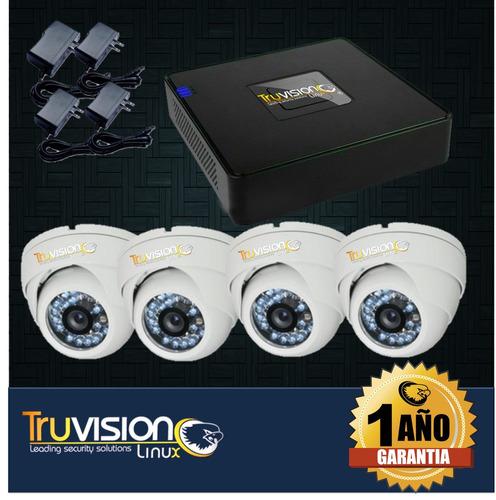 cctv kit  dvr 4 ch + 4 cámaras de seguridad truvision