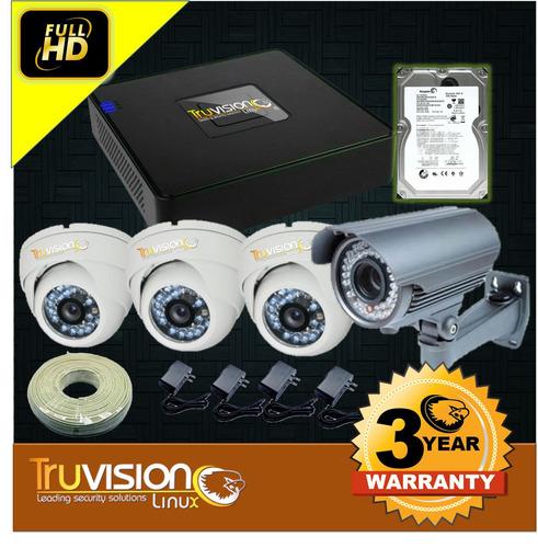 cctv kit dvr 8 canales+4 camaras de seguridad+disco duro hd