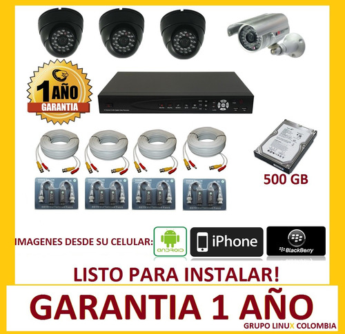 cctv kit dvr de 8 ch  + camaras + disco duro full hd