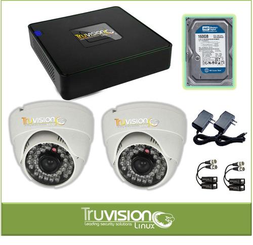 cctv kit dvr truvision 4 ch + camaras de seguridad hd