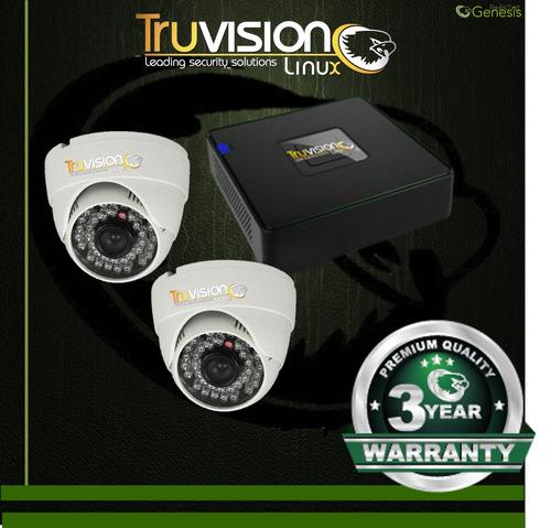 cctv kit dvr truvision ahd 4 ch + 2 camaras de seguridad