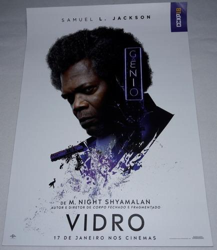 ccxp18 ccxp 2018 lote c/ 3 posters filme vidro glass 30x21cm