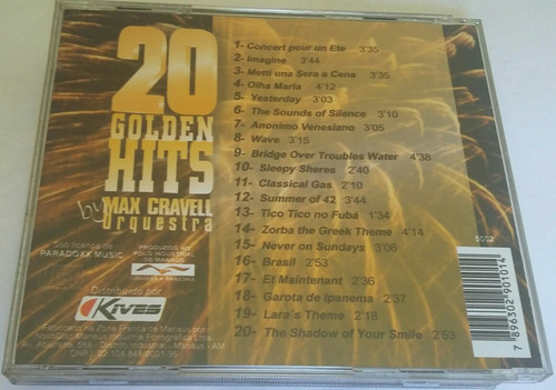 cd 20 golden hits  by max cravell orquestra (hbs)