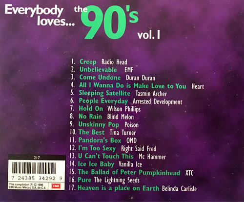 cd 90 s vol1 duran duran poison tina turner vanilla ice xtc