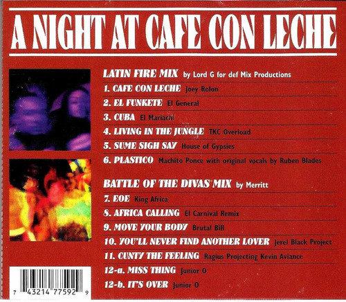cd a night at cafe con leche 1996 (import) cult dance