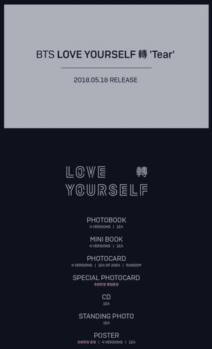 cd album bts love yourself tear + poster frete gratis