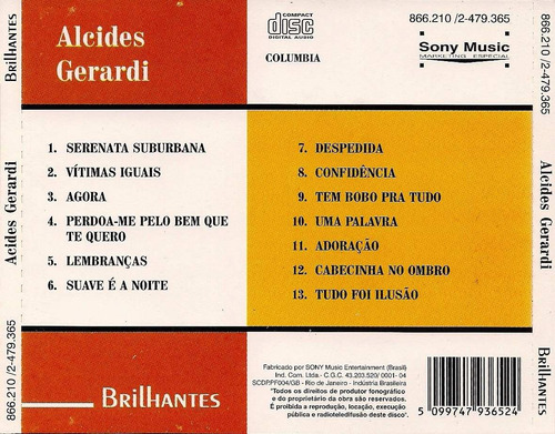 cd - alcides gerardi: brilhantes 13 grandes sucessos