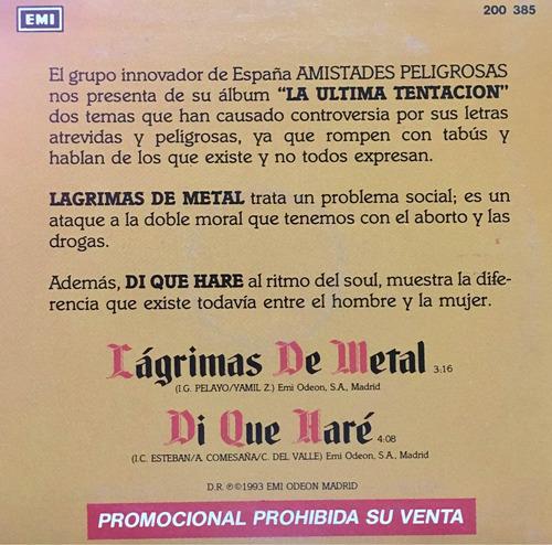 cd amistades peligrosas lagrimas de metal promo usado
