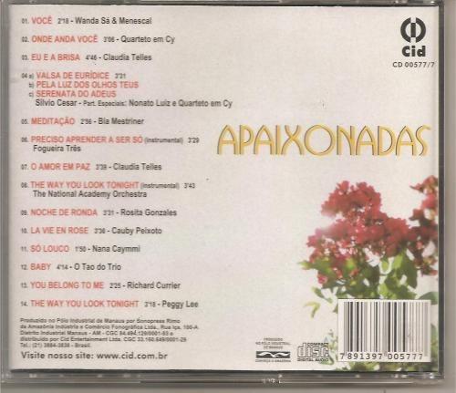 cd - apaixonadas - bossa nova no clima da paixão