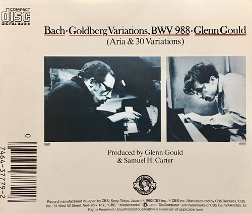 cd bach the goldberg variations glenn gould importado japon