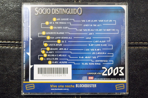 cd blockbuster socio distinguido conmemorativo 2003