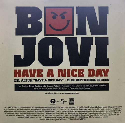 cd bon jovi have a nice day promo usado