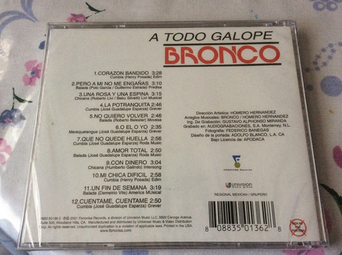 cd bronco a todo galope importado