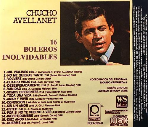 cd chucho avellanet 16 boleros inolvidables