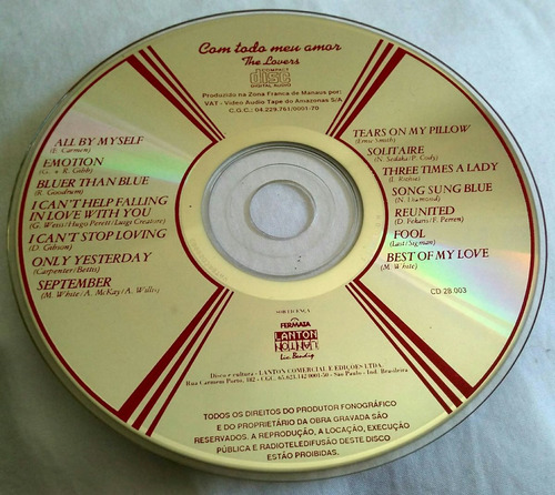 cd com todo o meu amor - the lovers