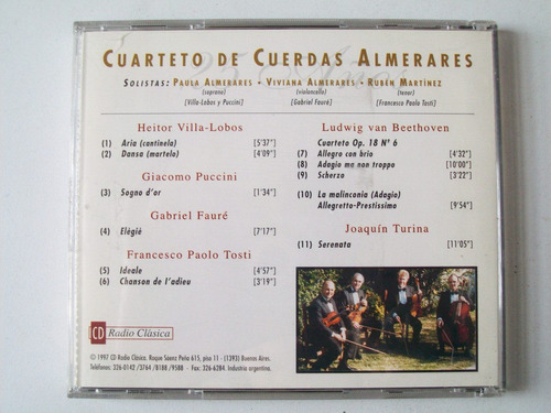 cd cuarteto almerares radio clasica villa lobos puccini etc