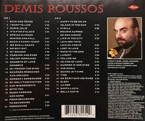 cd demis roussos the phenomenon 1968 1998 2cds usado