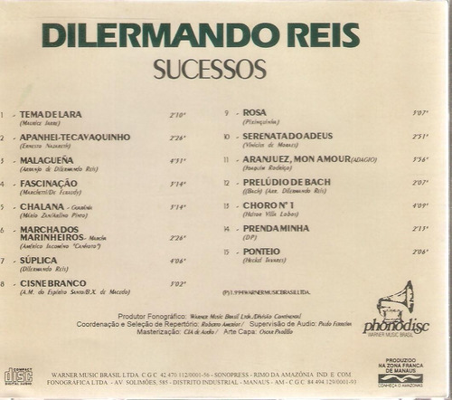 cd dilermando reis - sucessos - semi novo***