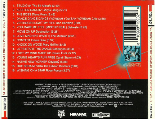 cd     disco 54   music from the movie