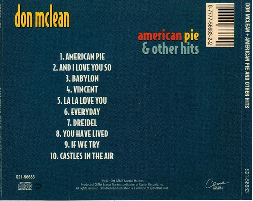 cd don mclean - american pie & other hits (importad) vincent