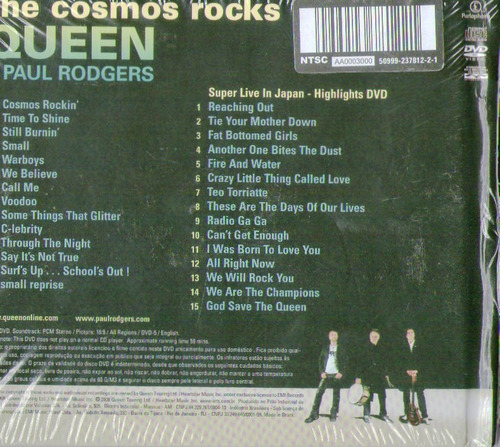 cd + dvd queen + paul rodgers - the cosmos rocks - novo***