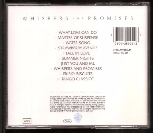 cd earl klugh - whispers and promises - importado