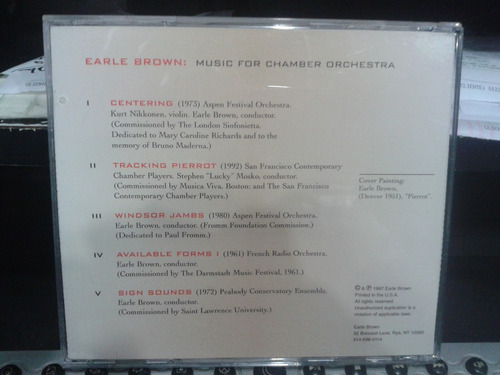 cd - earle brown: music for chamber orchestra