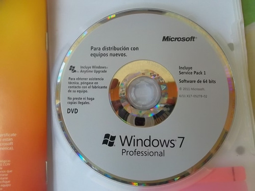 cd fisico windows 7 profesional  64 bits (sin licencia)