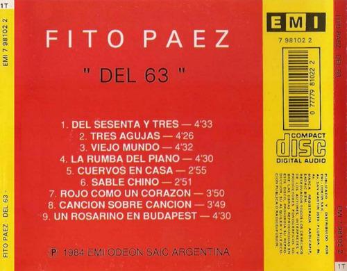 cd fito paez - del 63 - original - 1984