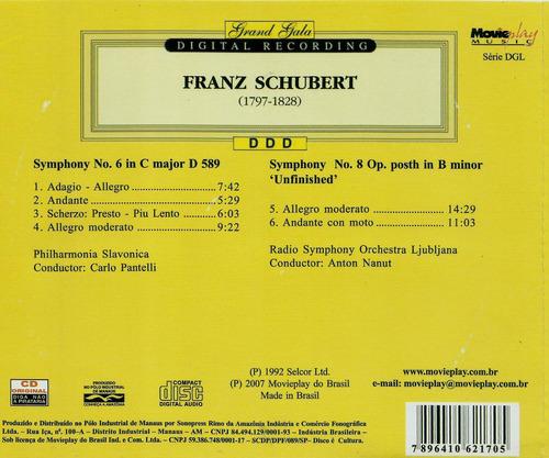 cd franz schubert symphonies nos. 6 & 8 unfinished seminovo