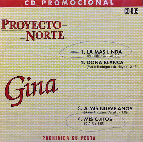 cd gina y proyecto norte promo usado