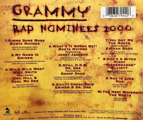 cd grammy rap 2000 usado eminem will smith dr dre missy e