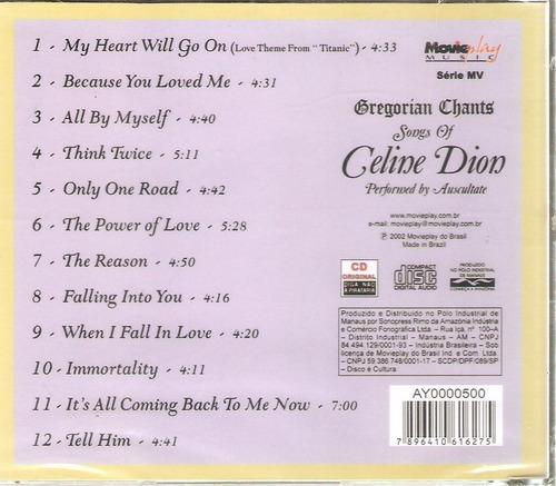 cd gregorian chants - songs of celine dion - novo lacrado***