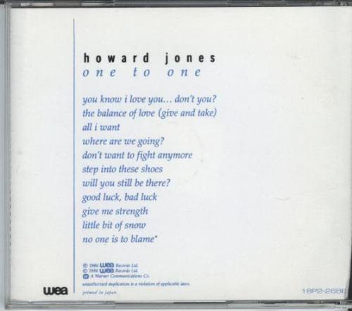 cd howard jones - one to one - 1986 - 1 bônus
