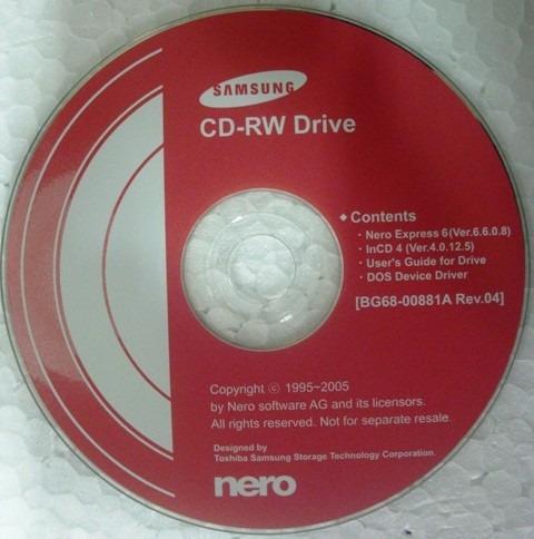 cd instalação do driver do cd-rw samsung