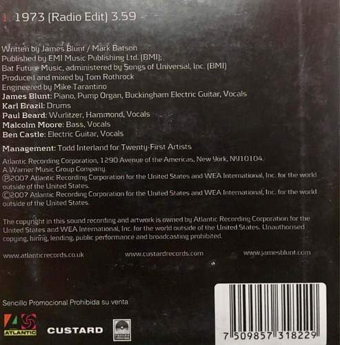 cd james blunt 1973 promo usado