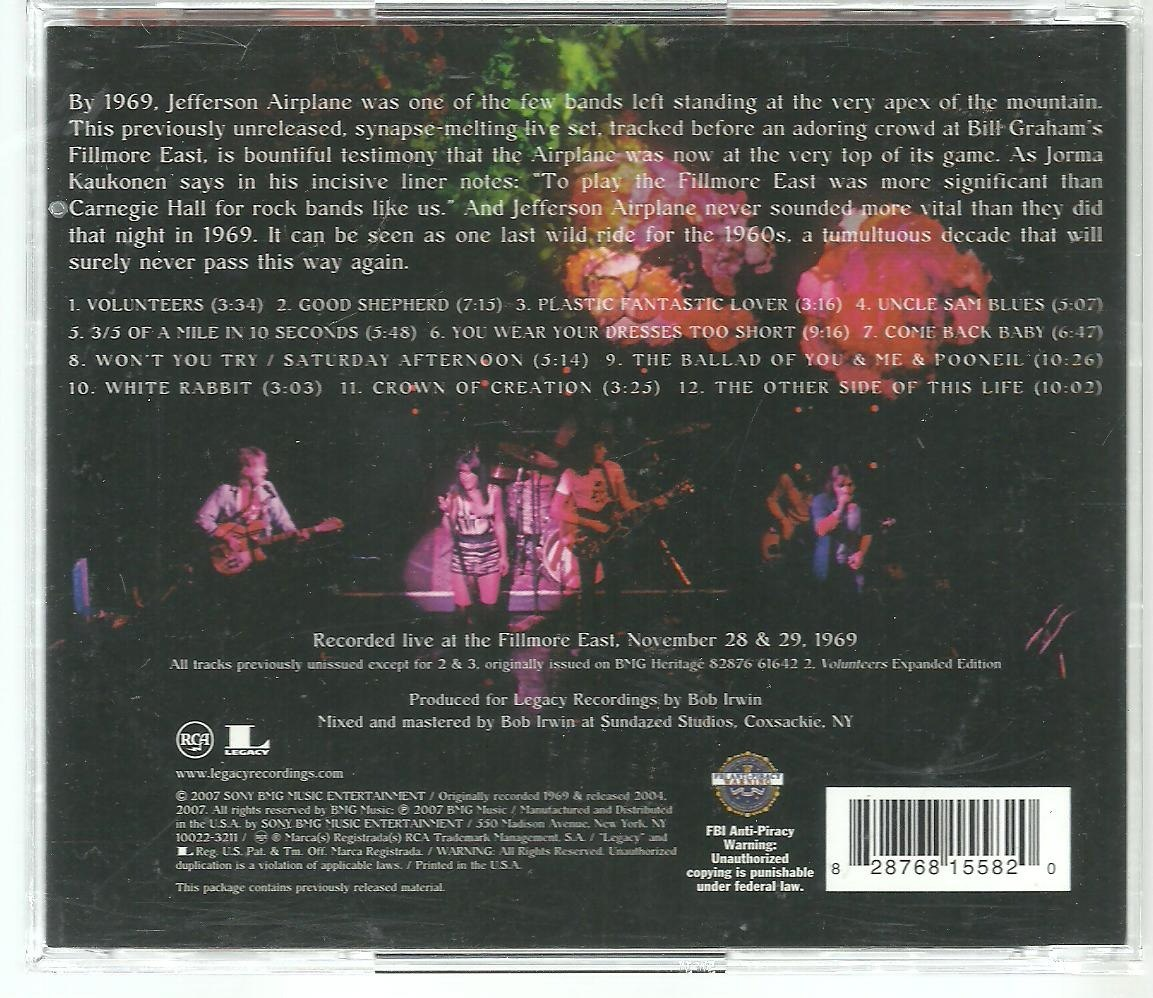 Cd Jefferson Airplane - Live At Fillmore East 1969 ( Usa)