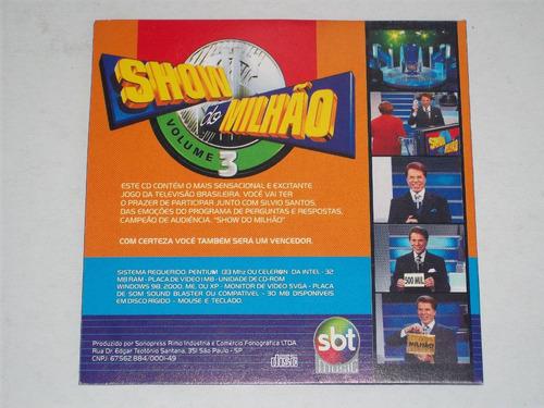 cd jogo interativo show do milhão volume 3 silvio santos