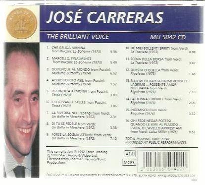 cd jose carreras the brilliant voice
