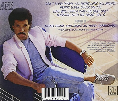 cd : lionel richie - can't slow down (cd)