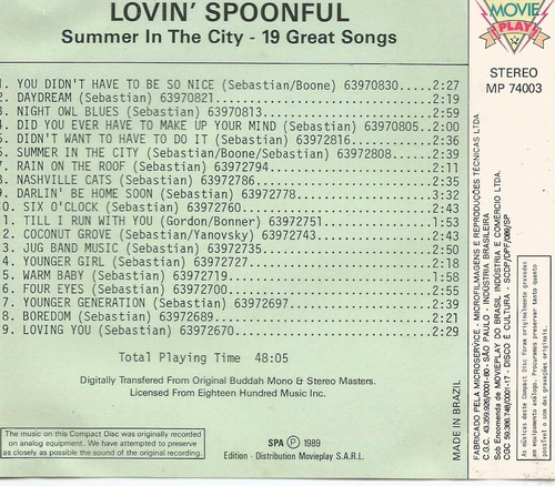 cd - lovin´spoonful - summer in the city