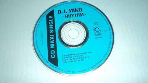 cd maxi single d.j. miko - rhythm - peerless 1994 solo djs