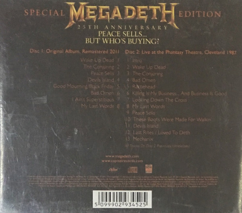 cd megadeth peace sells but whos buying 25th anniver 2cds