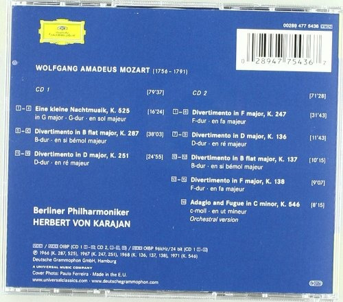 cd mozart: divertimenti / eine kleine nachtmusik / adagio &