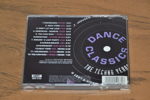cd musica - dance classics - the techno years - 1998