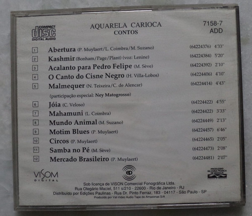 cd original aquarela carioca contos +