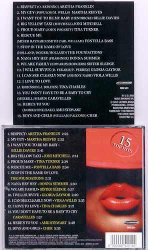 cd original con los 15 top hit de cantantes femeninas excele