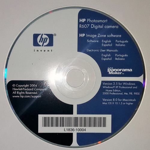 cd original de software hp image zone photosmart cámara r607